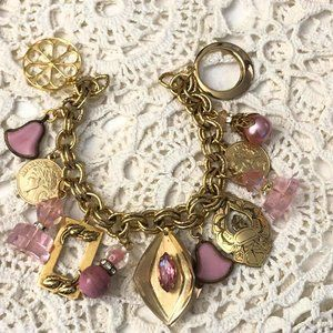 Pretty in PINK Recycled Vintage Charm Bracelet